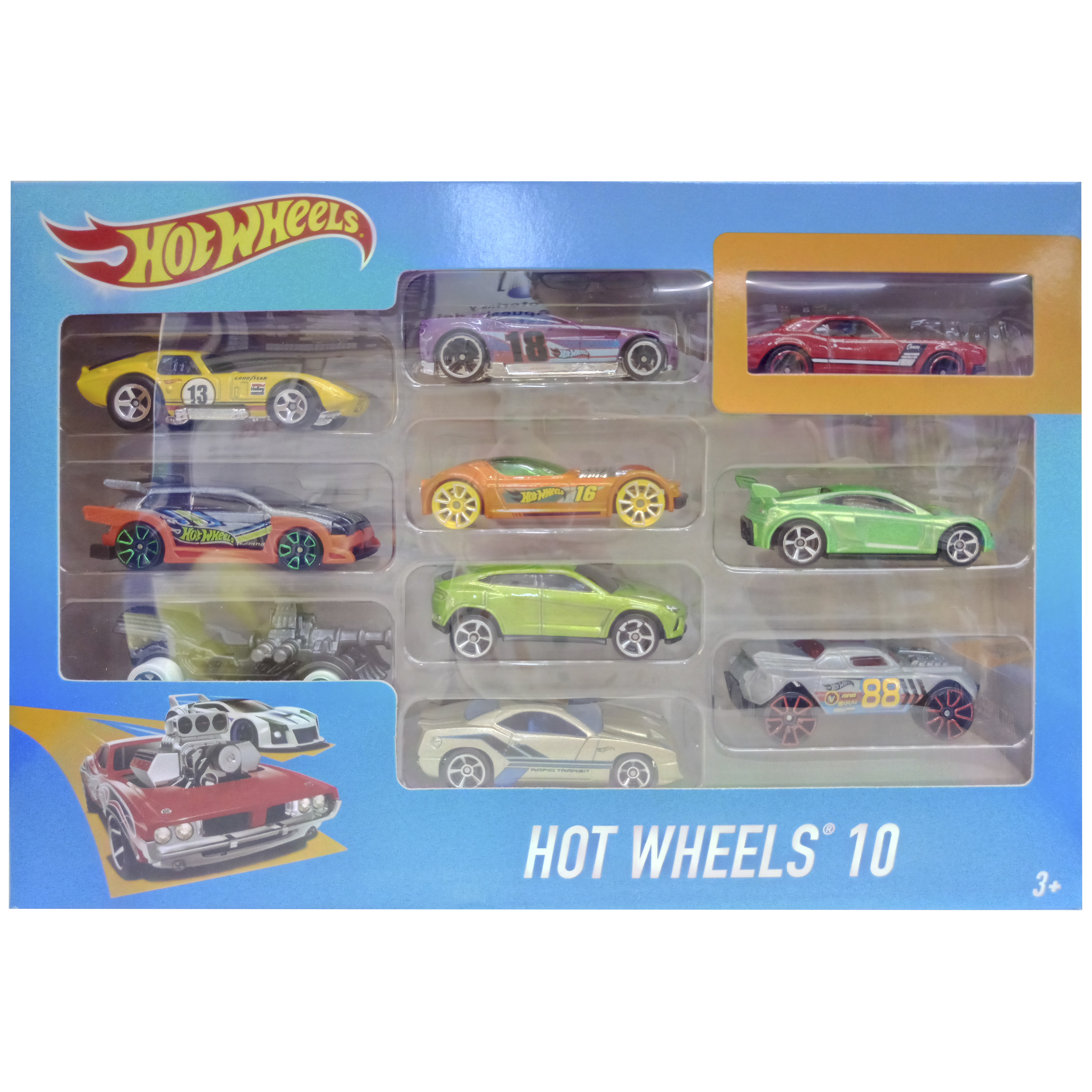 imagen forntal hot wheels pack 10 coches