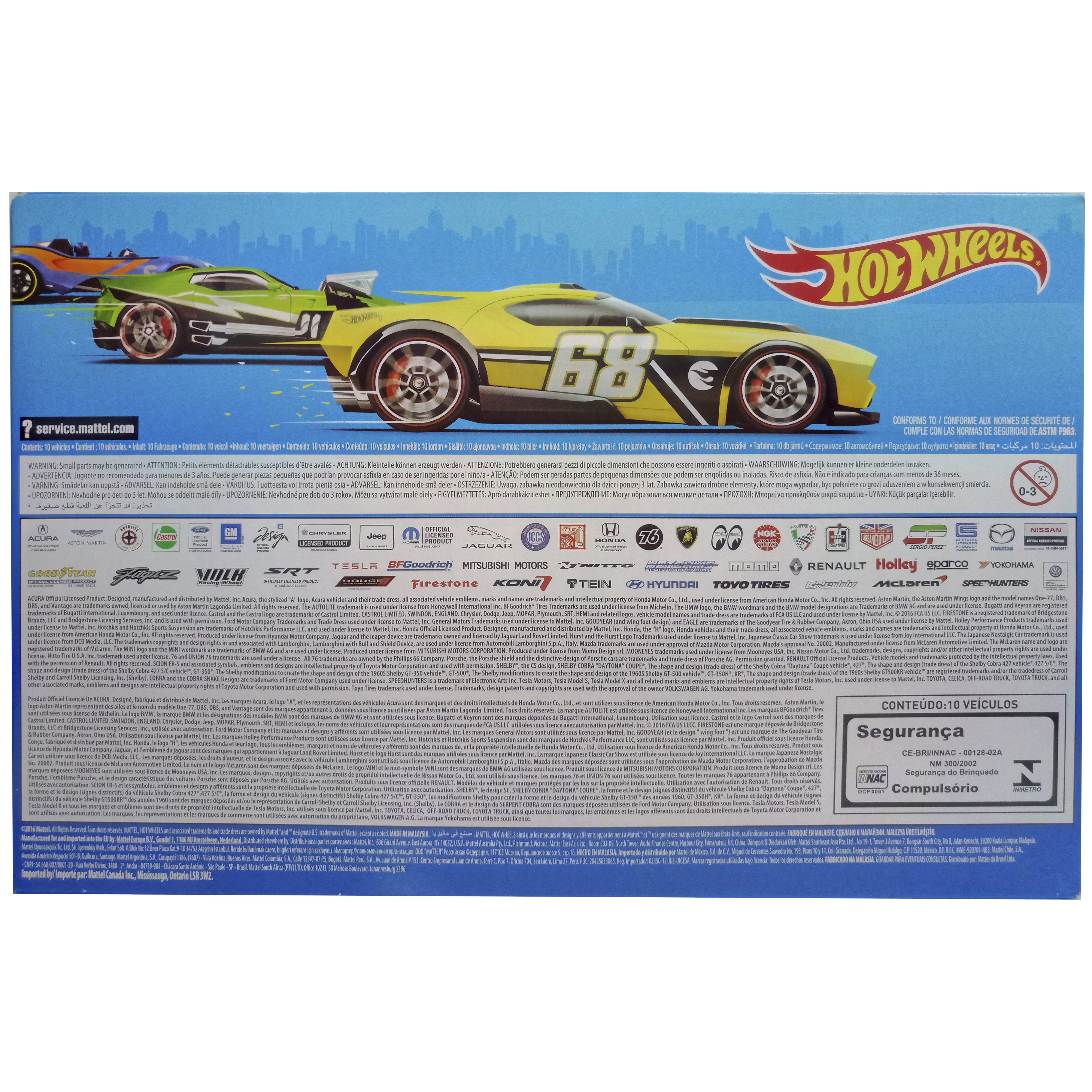 imagen trasera pack 10 hot wheels coches