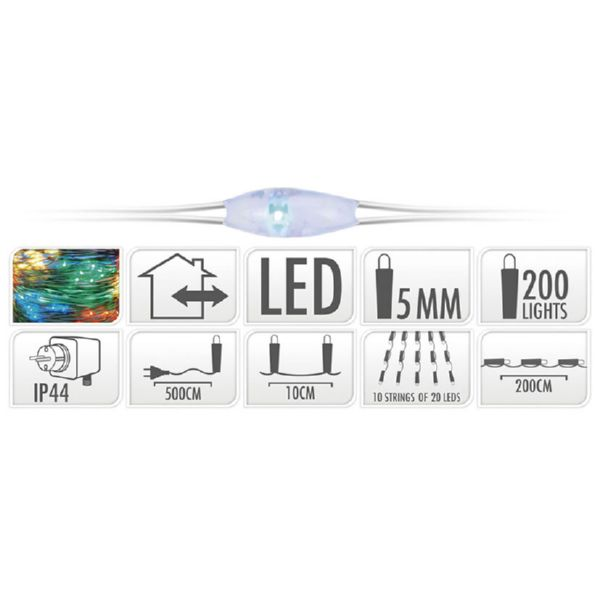 ALAMBRE COLOR PLATA 200 LED 200CM MULTIC