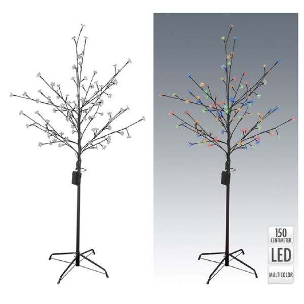 ARBOL C/FLORES 120LED MULTICOLOR 150CM