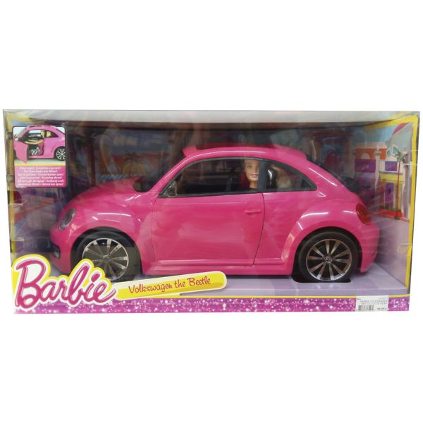 BARBIE VOLKSWAGEN BEETLE COLOR ROSA COCHE DE JUGUETE Y MUÑECA BARBIE