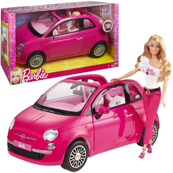 BARBIE Y SU ELEGANTE FIAT DE COLOR ROSA