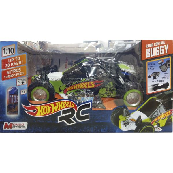 COCHE HOT WHEELS RADIO CONTROL R/C NITROS TURBO SPEED 1:10 VERDE/NEGRO
