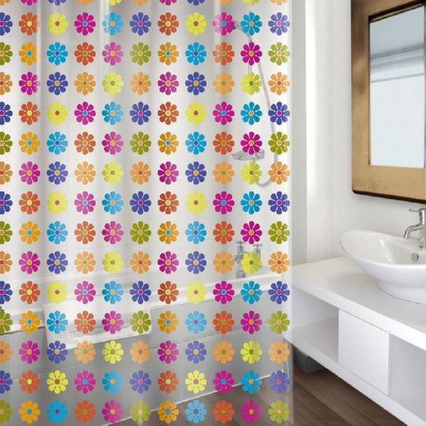 CORTINA BAÑO PVC 180X200CM.FLOWER COLOR