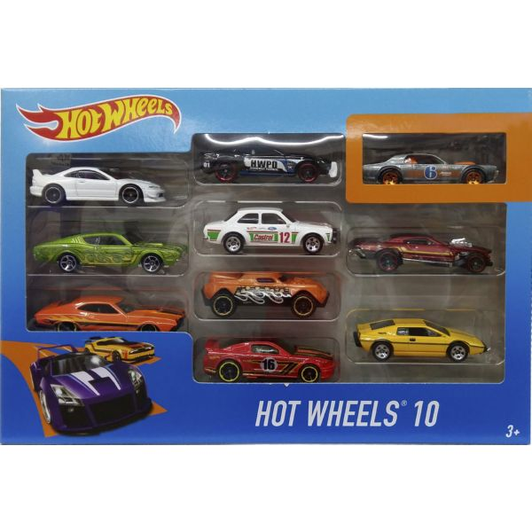 HOT WHEELS PACK 10 VEHÍCULOS COCHES SUPER RESISTENTES COLECCIONABLES