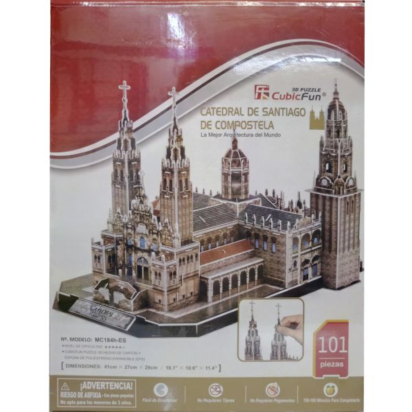 JUGUETE PUZZLE 3D CATEDRAL SANTIAGO 101P CUBIC FUN WORLD'S GREAT ARCHITECTURE