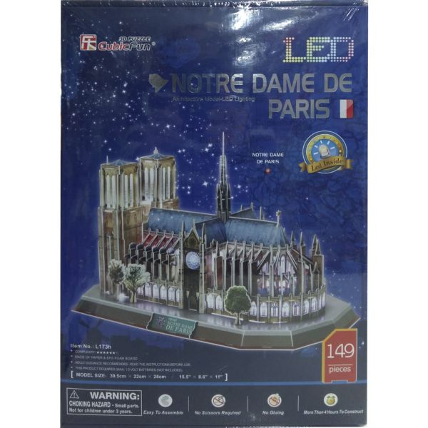 JUGUETE PUZZLE 3D LED NOTRE DAME 149PZAS CUBIC FUN WORLD'S GREAT ARCHITECTURE
