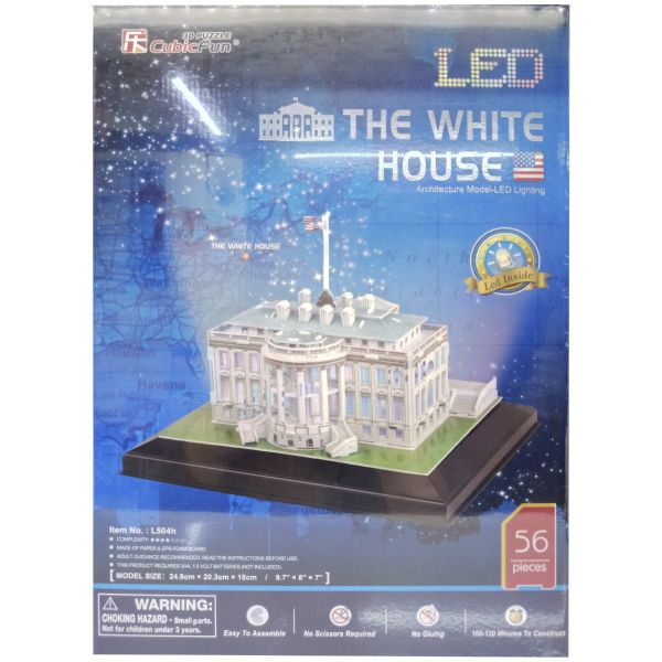 JUGUETE PUZZLE 3D LED THE WHITE HOUSE 56PZA CUBIC FUN WORLD'S GREAT ARCHITECTURE