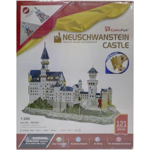 JUGUETE PUZZLE 3D NEUSCHWANSTEIN CASTLE 121 PIEZAS CUBIC FUN WORLD'S GREAT ARCHITECTURE