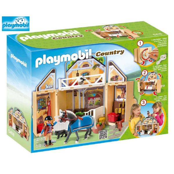 PLAYMOBIL COFRE ESTABLO DE CABALLOS 5418 COUNTRY