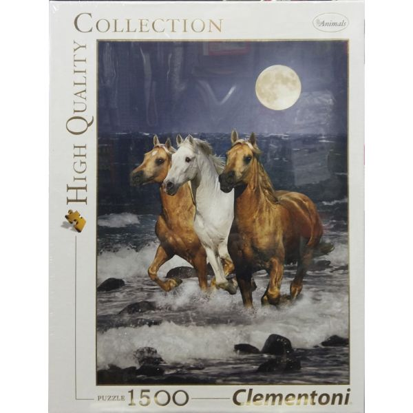 PUZZLE 1500 3 CABALLOS PASEO PLAYA LUNA CLEMENTONI HIGH QUALITY COLLECTION