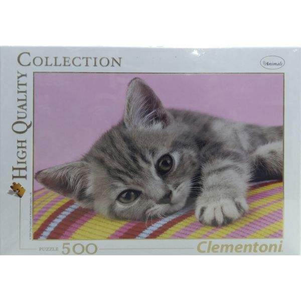PUZZLE 500 GATITO RAYADO GRIS CLEMENTONI HIGH QUALITY COLLECTION