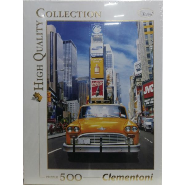 PUZZLE 500 TAXI IN TIME SQUARE CLEMENTONI HIGH QUALITY COLLECTION